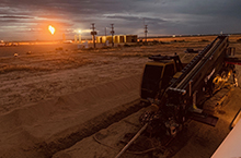 Vermeer D100x140 horizontal directional drill at night